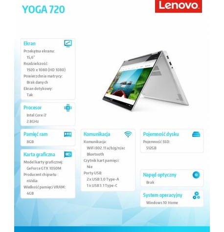 Laptop Lenovo YOGA 720-15IKB 15 80X70071PB