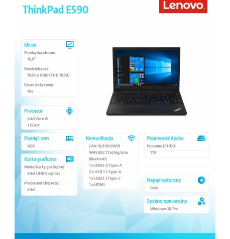 Laptop Lenovo ThinkPad E590 15. 20NB001BPB