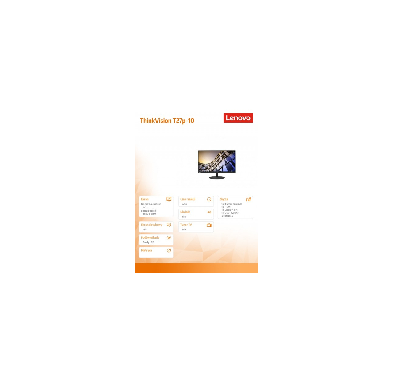 Monitor Lenovo ThinkVision T27p 61DAMAT1EU