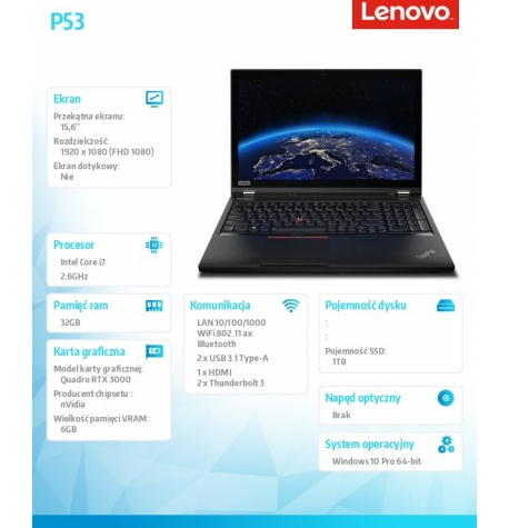 Laptop Lenovo ThinkPad P53 15.6 20QN0035PB