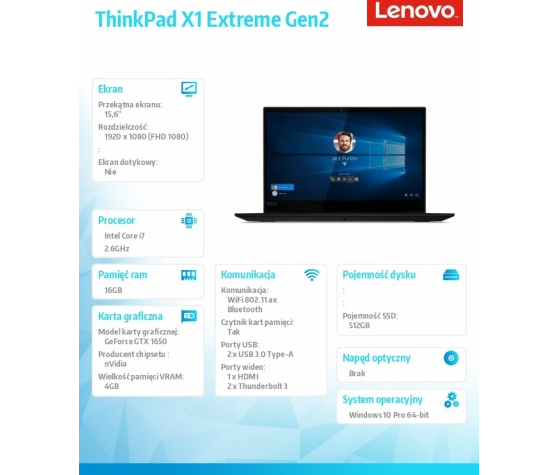 Laptop Lenovo ThinkPad X1 Extre 20QV001GPB