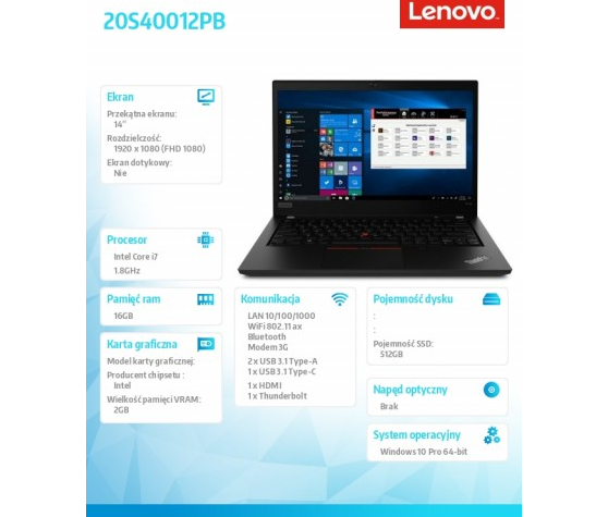 Laptop Lenovo ThinkPad P14s 14  20S40012PB