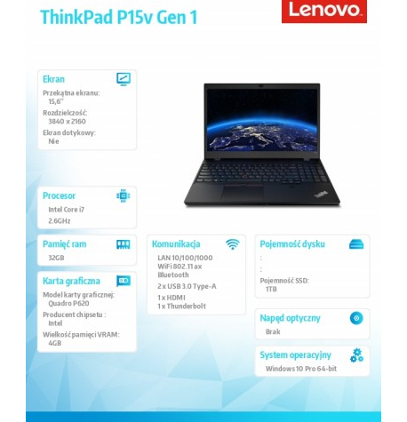 Laptop LENOVO ThinkPad P15v G1  20TQ004WPB