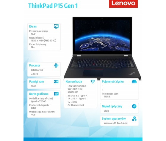 Laptop LENOVO ThinkPad P15 G1 1 20ST005TPB