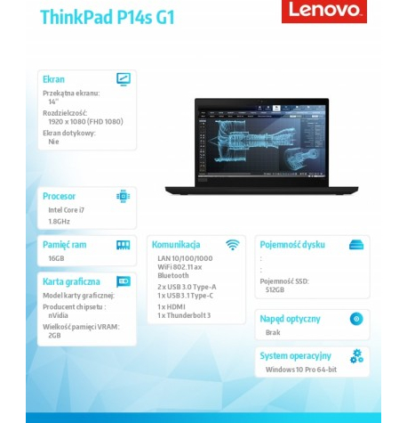 Laptop LENOVO ThinkPad P14s G1  20S40046PB